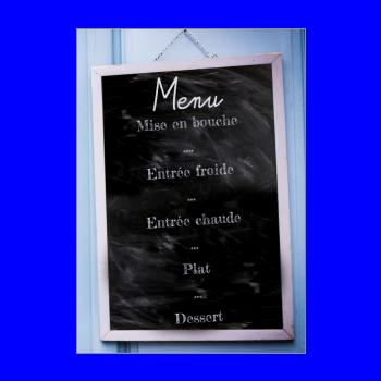 mariage menu bleu ardoise