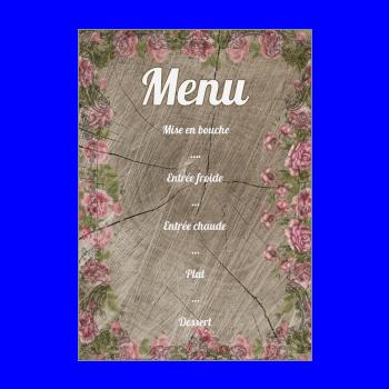 mariage menu fleur rose bois marron