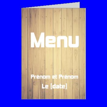 mariage menu bois marron