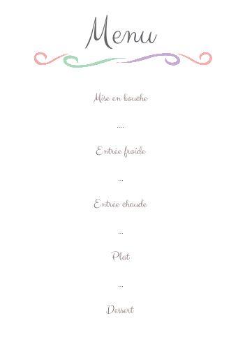 Menu Mariage Blanc Gratuit à Imprimer Carte 674