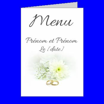 mariage menu fleur anneau blanc