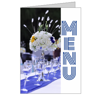 mariage menu fleur anneau bleu