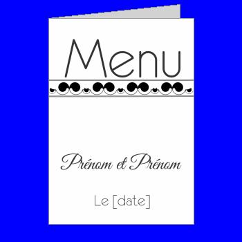 mariage menu noir blanc