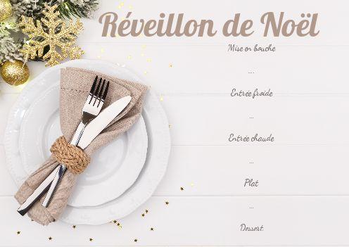 Menu Repas Noel Bois Blanc Boule Gratuit à Imprimer Carte 2592