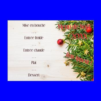 Menu De Noël à Imprimer Gratuit