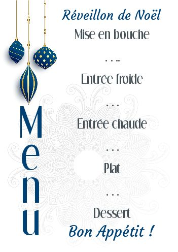 Menu Repas Noel Bleu Boule Gratuit à Imprimer Carte 2620