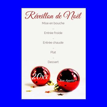 menu repas noel rouge boule
