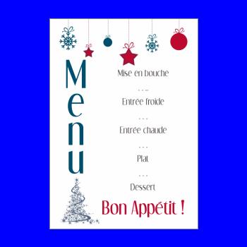 menu repas noel bleu rouge sapin boule