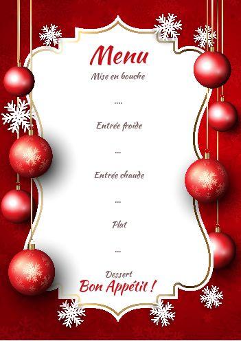 Menu Repas Noel Rouge Etoile Boule gratuit à imprimer (carte 2628)