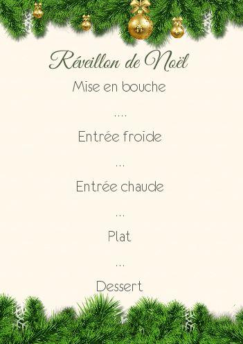 Menu Repas Noel Vert Sapin Boule Gratuit à Imprimer Carte 2636
