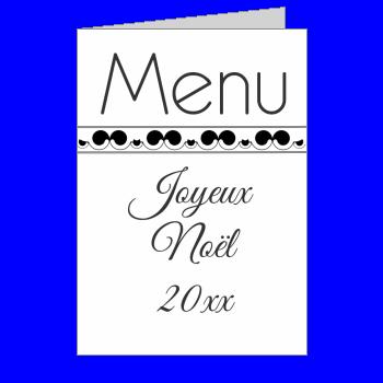 menu repas noel noir blanc elegant