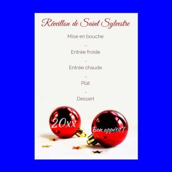 menu nouvel an repas soiree rouge boule