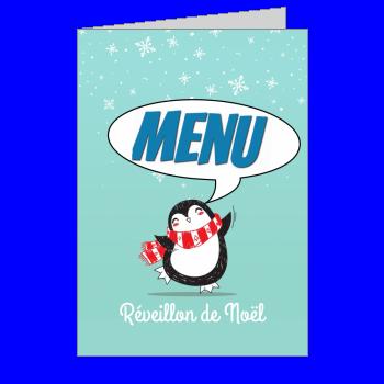 menu repas noel bleu neige animaux