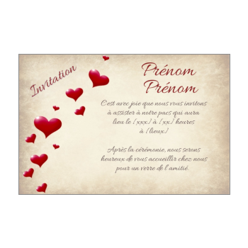 carte invitation faire part pacs coeur rouge