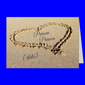 carte invitation faire part pacs coeur bleu plage