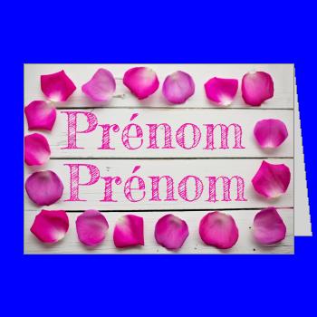 carte invitation faire part pacs fleur rose bois mauve