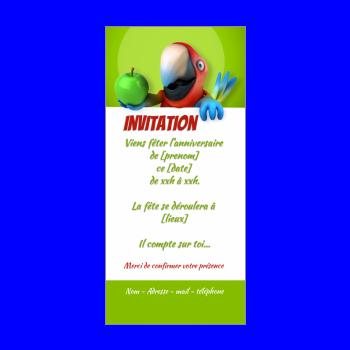 carte invitation anniversaire oiseau enfant vert animaux