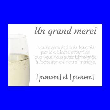 carte mariage remerciement champagne blanc alcool