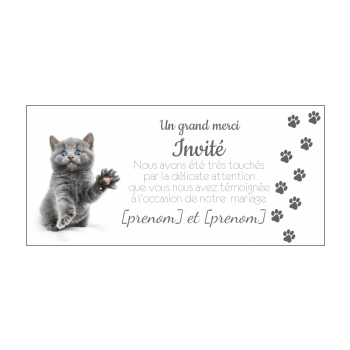 carte mariage remerciement chat merci gris animaux