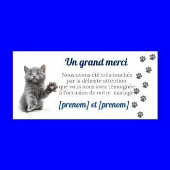 carte mariage remerciement chat humour bleu merci gris