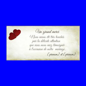 carte mariage remerciement coeur merci jaune rouge