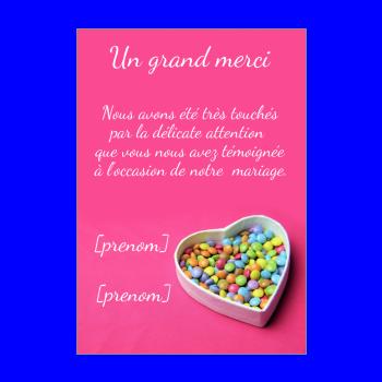 carte mariage remerciement coeur bonbon rose merci