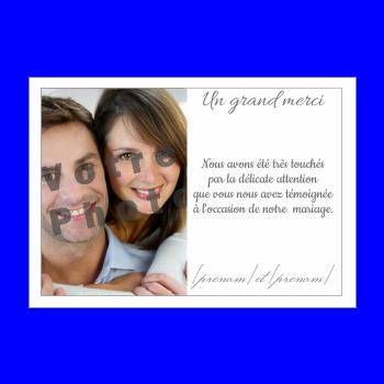 carte mariage remerciement merci blanc