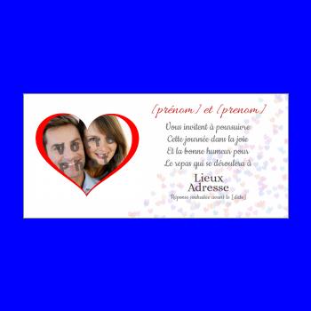carte invitation mariage repas coeur