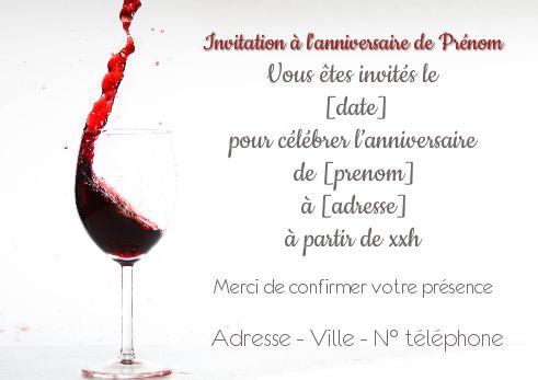 Carte Invitation Anniversaire Vin Rouge Alcool à Imprimer